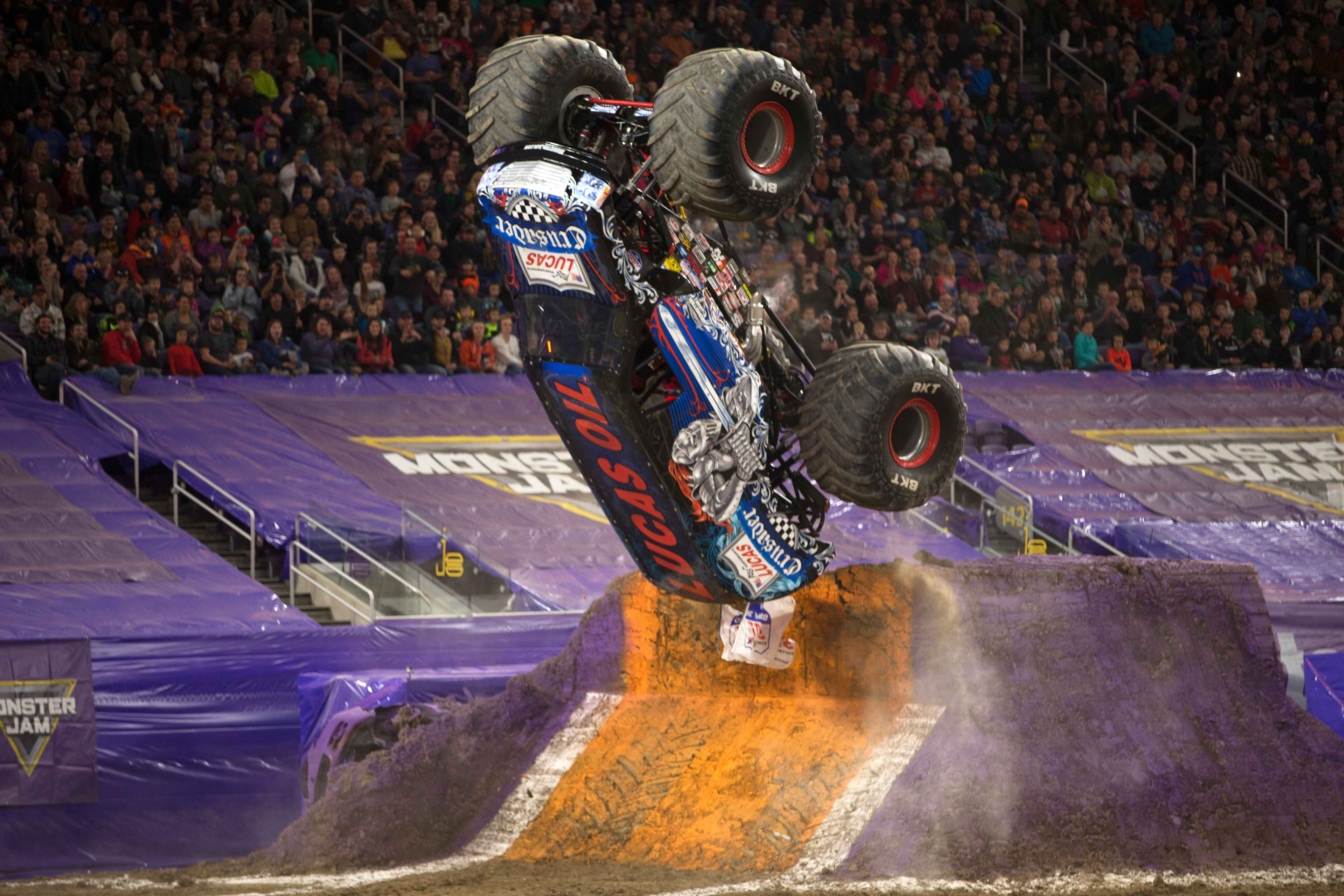 Lucas Oil CrusaderTM driver Linsey Weenk went for a backflip during his Freestyle run! Do you think he nailed it? (Photo by Eric Stern)